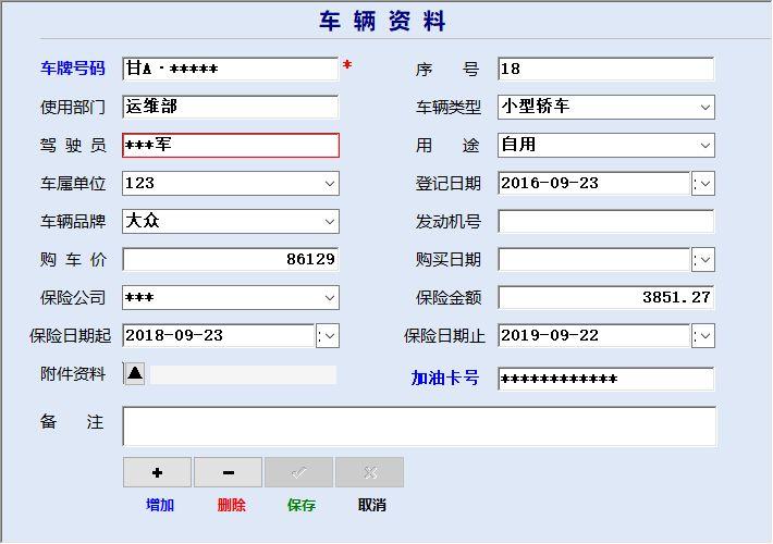 《车辆费用统计管理系统》窗口展示