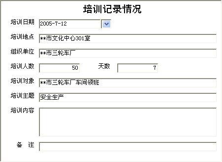 《安全生产管理系统》信息窗口